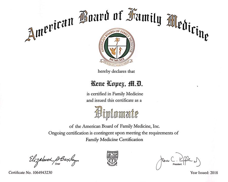 Rene Lopez American Board of Family Medicine Certificate